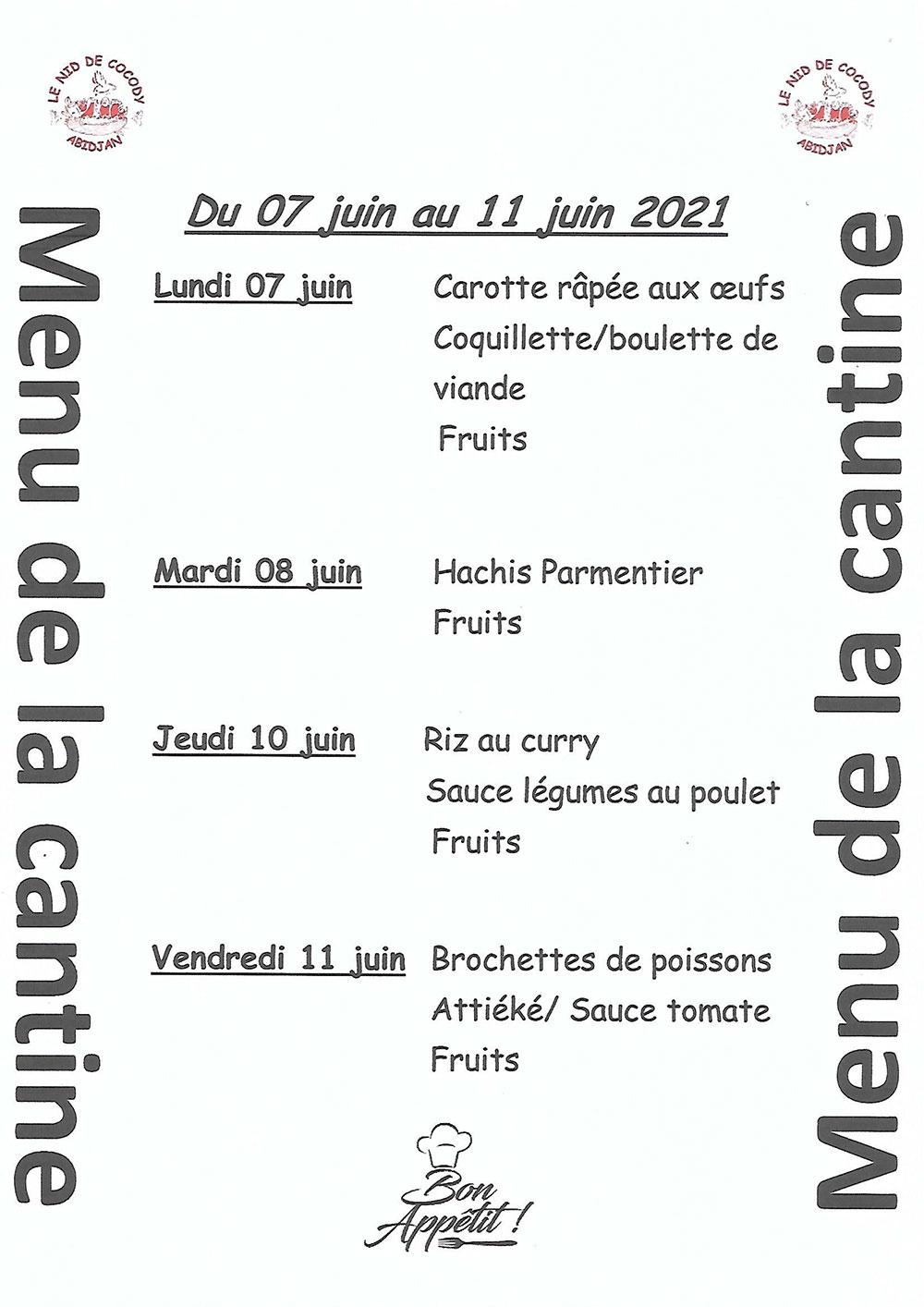 Menu de cantine de la semaine du 7 au 11 Juin 2021